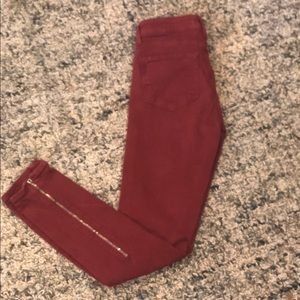 PAIGE SKINNY ANKLE ZIPPER RUST JEANS